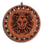 Брелок знак зодиака Лев из красного дерева