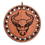 Брелок знак зодиака Телец из красного дерева