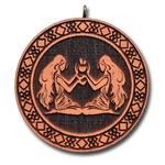 Подвеска знак зодиака Близнецы из красного дерева, темная