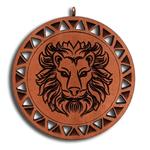 Подвеска знак зодиака Лев из красного дерева