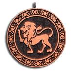 Подвеска знак зодиака Лев из красного дерева (темная)