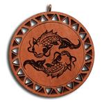 Подвеска знак зодиака Рыбы из красного дерева