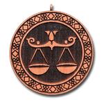 Подвеска знак зодиака Весы из красного дерева (темный)