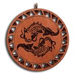 Брелок знак зодиака Рыбы из красного дерева