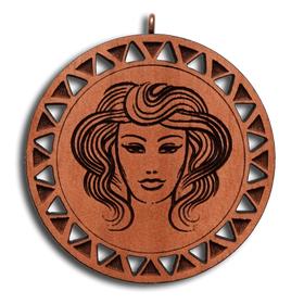 Брелок знак зодиака Дева из красного дерева