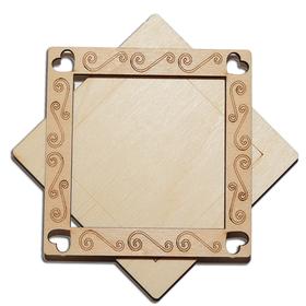 Деревянная заготовка для магнита Квадратная с рисунком №2, комплект