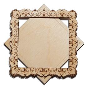 Деревянная заготовка для магнита Квадратная с рисунком №3, комплект
