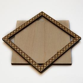Деревянная заготовка для магнита Квадратная с рисунком №4, комплект