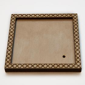 Деревянная заготовка для магнита Квадратная с рисунком №4, сбоку