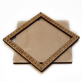 Деревянная заготовка для магнита Квадратная с рисунком №5, комплект