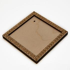 Деревянная заготовка для магнита Квадратная с рисунком №5, сбоку 2