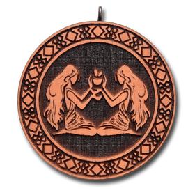 Подвеска знак зодиака Близнецы из красного дерева (темный)