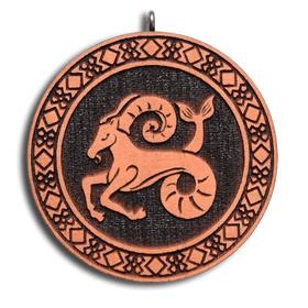 Брелок знак зодиака Козерог из красного дерева (темный)
