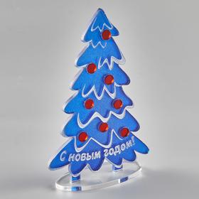 Персональная офисная новогодняя елочка синяя вид сбоку